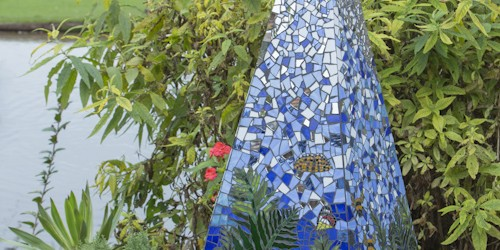 Pyramid sculpture 'Dancing Fronds' mosaic sculpture by Victoria Harrison. SOLD